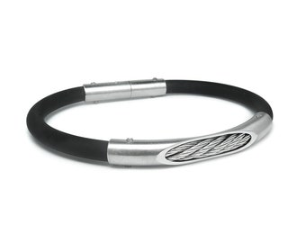 Men's Black Rubber & Cable Bracelet Stainless Steel Tube by Taormina Jewelry