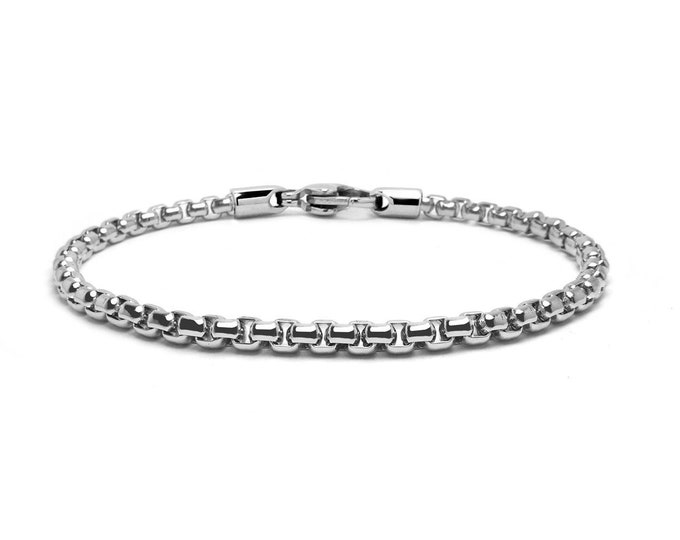 5 mm Box Link Chain Stainless Steel Bracelet by Taormina Jewelry