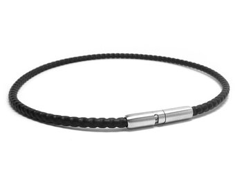 Black PVC Coated Box Chain Necklace with Bayonet Clasp