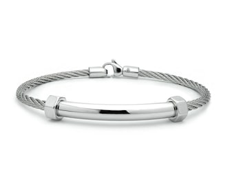 Cable Wire Bracelet With Center Tube Element and Hex Nuts on the side. Stainless steel by Taormina Jewelry