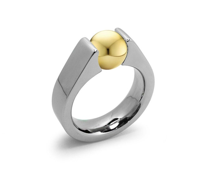 High Rise Ring with Tension Set Gold Sphere in Stainless Steel