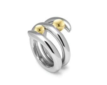 Two Tone Tension Set Bypass Cocktail Ring with Gold and Steel by Taormina Jewelry