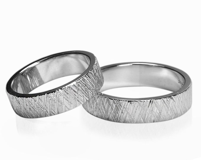 Texture diagonal crossed lines Unisex wedding band ring rough raw look in Stainless Steel 3mm 4mm 5mm 6mm