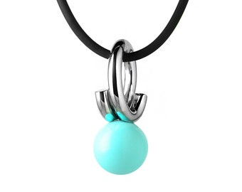 Modern Turquoise Pendant in Stainless Steel