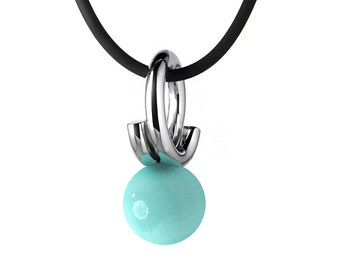Modern Turquoise Pendant in Stainless Steel by Taormina Jewelry
