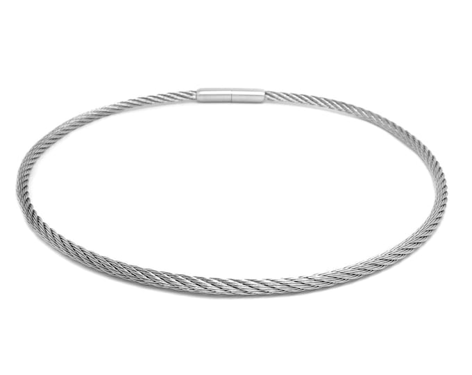 3 mm Stainless Steel Cable Wire Necklace with bayonet clasp by Taormina Jewelry