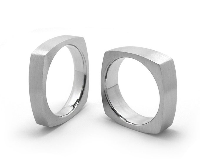 3mm, 4mm, 5mm, 6mm Stainless Steel Square Comfort fit Wedding Ring Band
