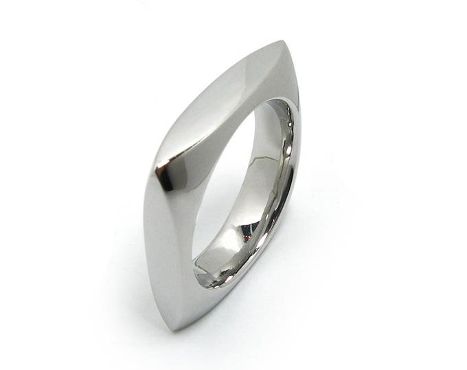 Stainless Steel Square rounder Wedding Ring Band by Taormina Jewelry