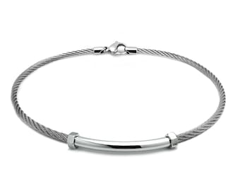Cable Wire Necklace With Center Tube Element and Hex Nuts on the side. Stainless steel