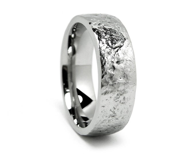 Rough pattern wedding band ring in Stainless Steel 3mm 4mm 5mm 6mm