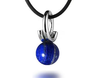 Modern Lapis Lazuli Pendant in Stainless Steel