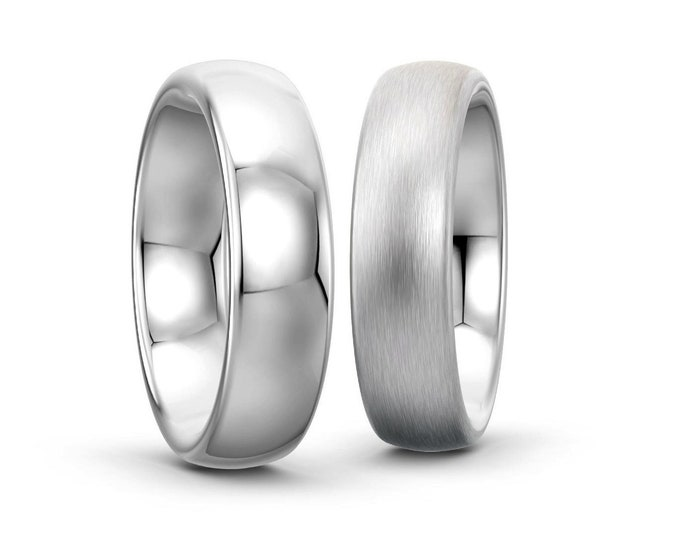 2mm 3mm 4mm 5mm 6mm Width Stainless Steel Wedding Band Comfort Fit Dome Top Polished or Satin Brushed Finish by Taormina Jewelry
