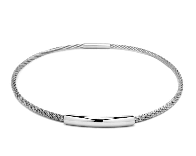 3 mm Stainless Steel Cable Wire Necklace, bayonet clasp & Center element