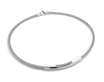 Stainless Steel Cable Wire Necklace with See through element