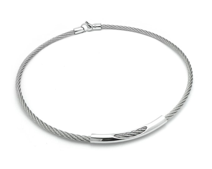 Stainless Steel Cable Wire Necklace with See through element by Taormina Jewelry