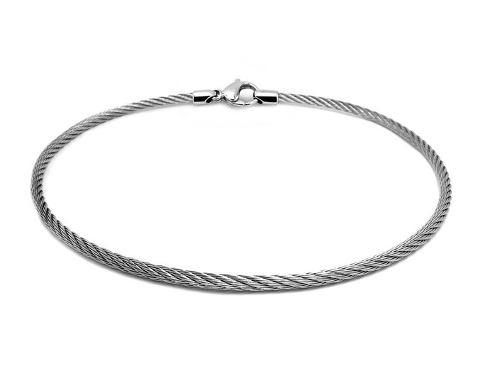 4 mm Stainless Steel Cable Wire Necklace by Taormina Jewelry