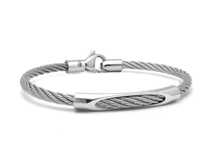 Stainless Steel Cable Wire Bracelet With Center Tube Element by Taormina Jewelry