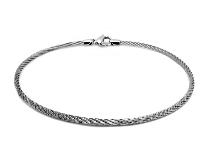 3 mm Stainless Steel Cable Wire Necklace by Taormina Jewelry