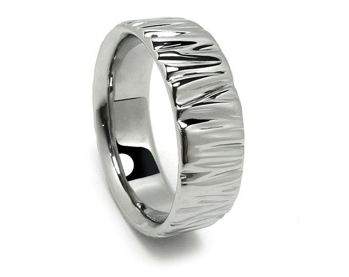 Horizontal Ripple Wrinkled Pattern Wedding Band Width 3mm 4mm 5mm 6mm