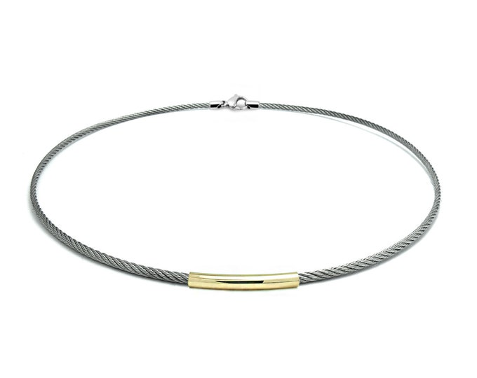 2 mm Stainless Steel & Gold Cable Wire Necklace