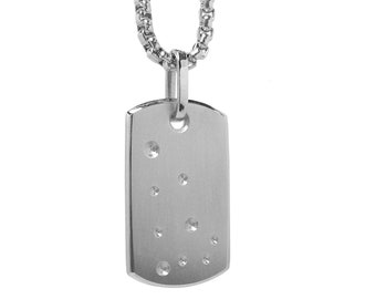 Zodiac Constellation ID Tag Necklace in Stainless Steel by Taormina Jewelry