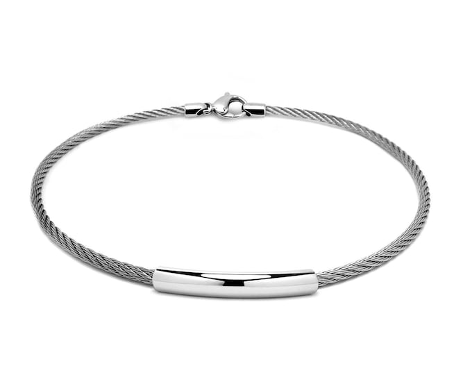 3 mm Stainless Steel Cable Wire Necklace, lobster clasp & Center element