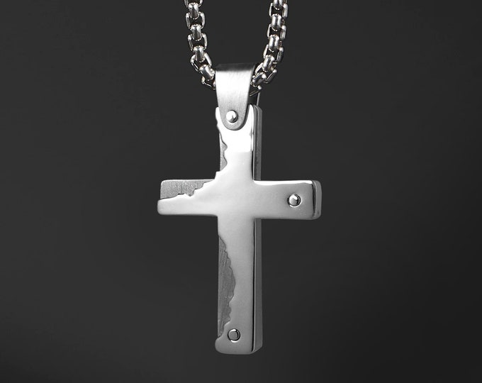 Modern Men's Cross Necklace in Two Tone Stainless Steel