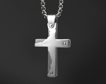 Double Layers Flat Cross in Stainless Steel by Taormina Jewelry