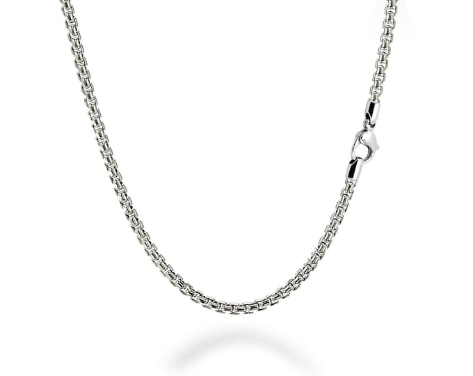 4 mm Box Link Chain Stainless Steel Necklace by Taormina Jewelry