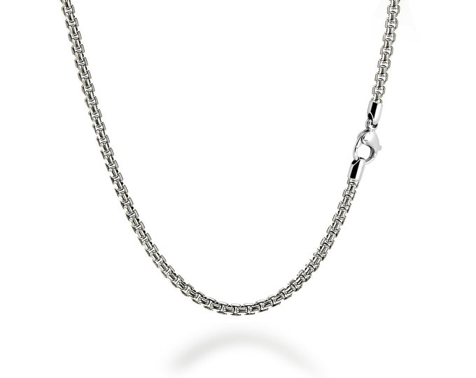 4mm Box Link Chain Stainless Steel Necklace by Taormina Jewelry