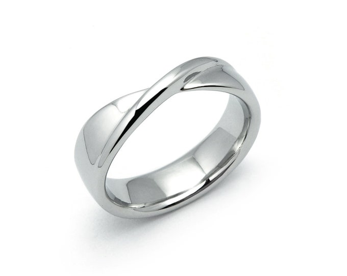 Mobius Twisted Ring in Stainless Steel by Taormina Jewelry