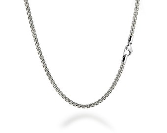 2mm Box Link Chain Stainless Steel Necklace by Taormina Jewelry