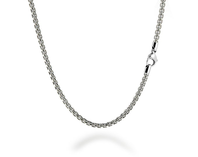2 mm Box Link Chain Stainless Steel Necklace by Taormina Jewelry