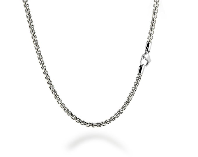 2.5 mm Box Link Chain Stainless Steel Necklace  by Taormina Jewelry