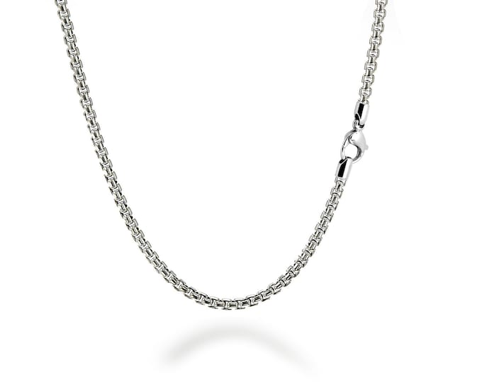 2.5 mm Box Link Chain Stainless Steel Necklace