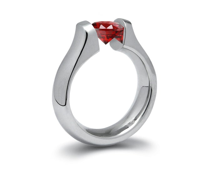 1.5ct Garnet Ring Tension Set Mounting in Stainless Steel by Taormina Jewelry