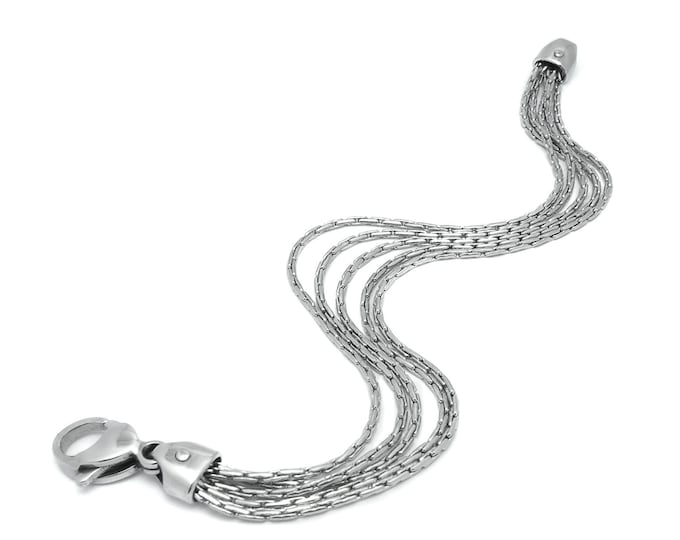 Multi - Row Strands Chain Necklace in Stainless Steel by Taormina Jewelry