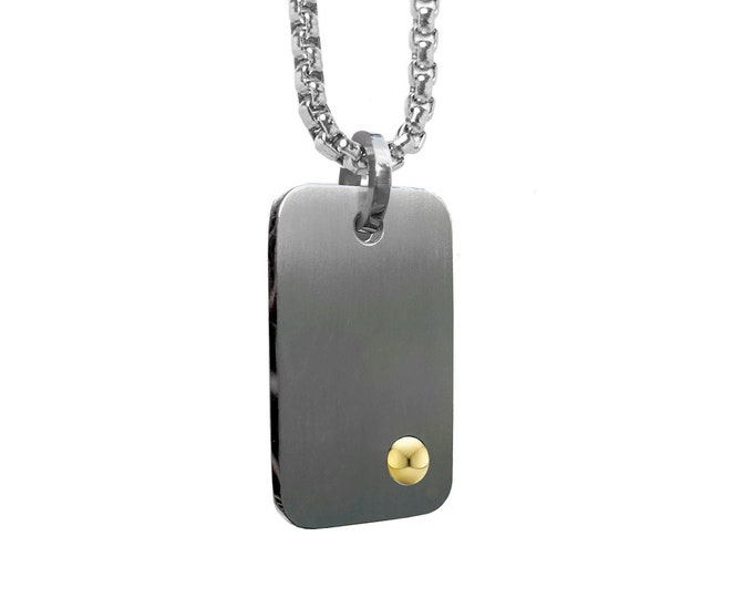 ID Tag Necklace in Stainless Steel with Gold sphere by Taormina Jewelry