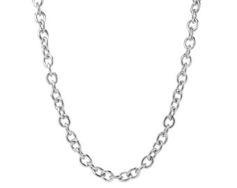 Extra Large Oval Link Chain Necklace in Stainless Steel 8 mm by 10 mm