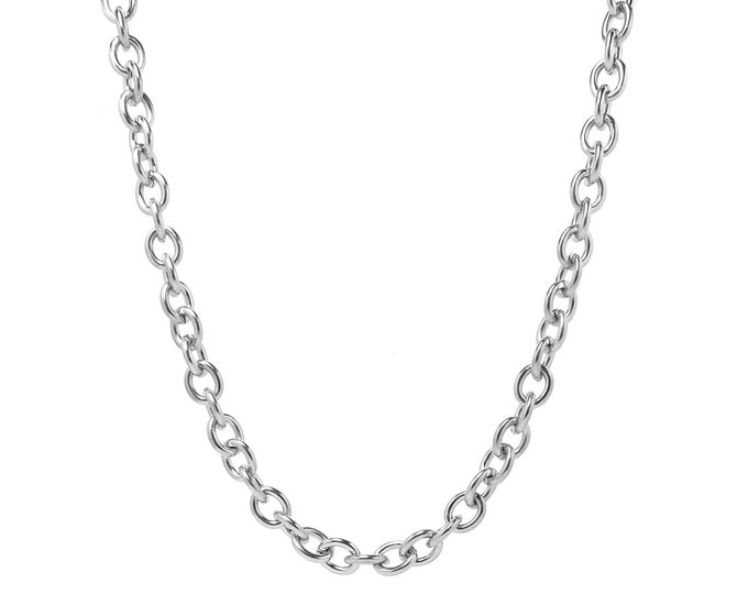 8mm by 10mm Large Oval Link Chain Necklace in Stainless Steel by Taormina Jewelry