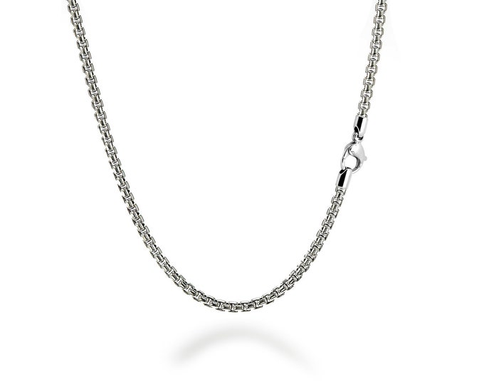 3 mm Box Link Chain Stainless Steel Necklace  by Taormina Jewelry