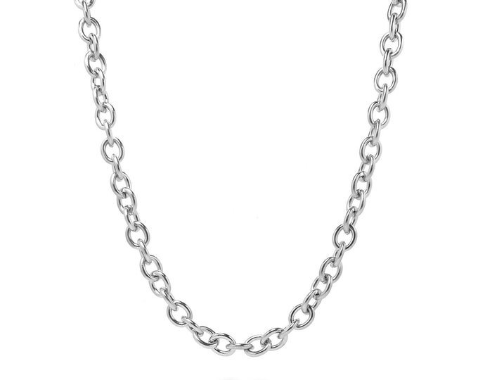 6mm by 8mm Medium Oval Link Chain Necklace in Stainless Steel by Taormina Jewelry
