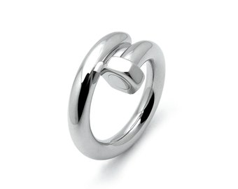 Hex Nut bypass Ring in Stainless Steel by Taormina Jewelry