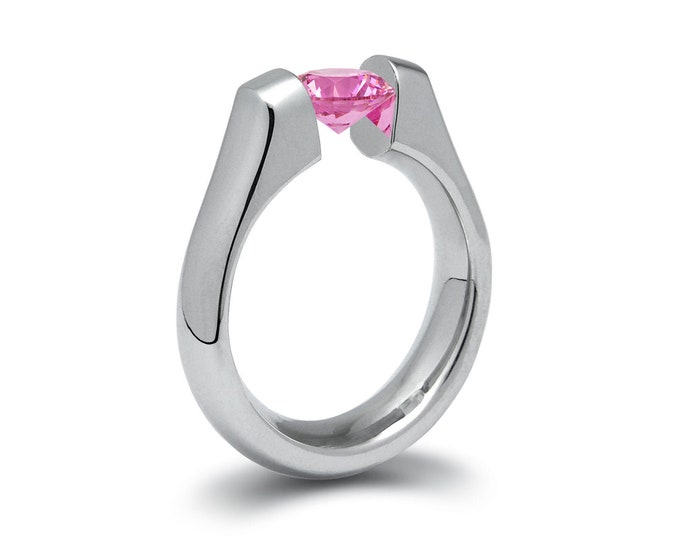 2ct Pink Sapphire Tension Set Steel Engagement Ring by Taormina Jewelry