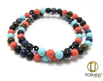 Layering Bead Bracelet Obsidian, Lapis Lazuli, Hematite, Tiger Eye, Pink Coral, Turquoise.