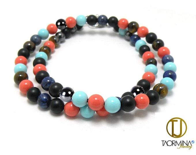Layering Bead Bracelet Obsidian, Lapis Lazuli, Hematite, Tiger Eye, Pink Coral, Turquoise. by Taormina Jewelry