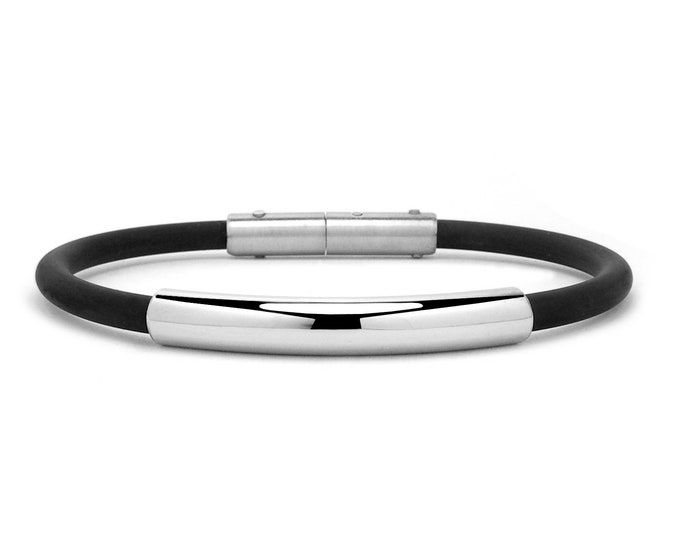 4mm Mens Black Rubber Bracelet with 5mm Stainless Steel Tube by Taormina Jewelry