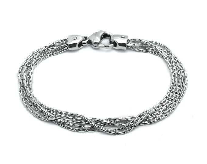 Multi - Row Strands Chain Bracelet in Stainless Steel by Taormina Jewelry