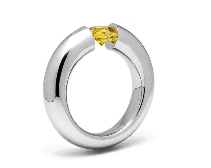 1ct Yellow Sapphire Tension Set Tapered Engagement Ring in Stainless Steel by Taormina Jewelry