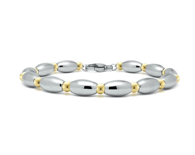 Two tone Beaded bracelet with stainless steel olive shaped elements and gold by Taormina Jewelry